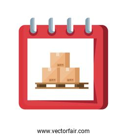 boxes packages in calendar reminder isolated icon