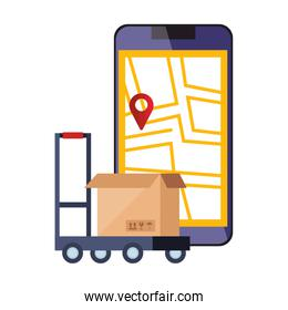 smartphone with map location app and box