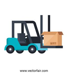box package cargo in forklift isolated icon