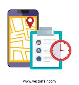 smartphone with map location app and icons