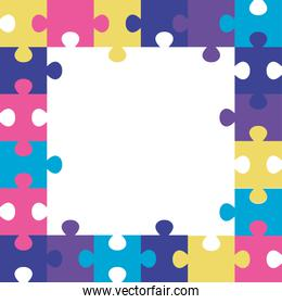 frame of puzzle pieces icons