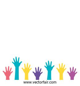 hands of colors isolated icon