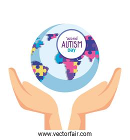 world autism day with hands and world planet