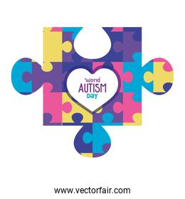 world autism day with puzzle piece