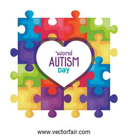 world autism day with heart and puzzle pieces