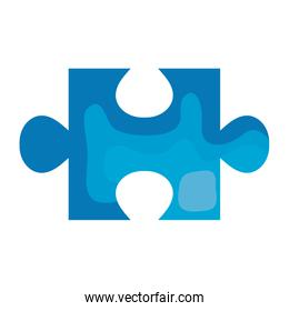 puzzle piece blue color isolated icon