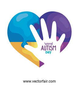 world autism day with heart and hand