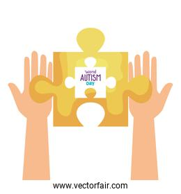 world autism day with hands and puzzle piece