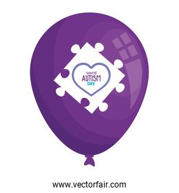 world autism day with balloon helium and puzzle piece