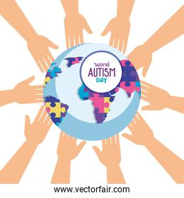 world autism day with world planet and hands