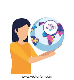 world autism day with woman and world planet