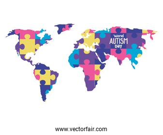 world autism day with map of puzzle pieces