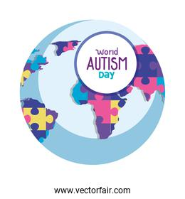 world autism day with world planet and puzzle pieces