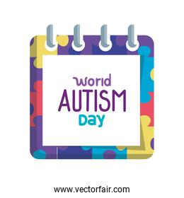 world autism day with calendar and puzzle pieces