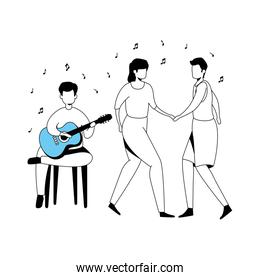 man with guitar and couple dancing
