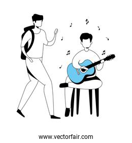 men with guitar isolated icon