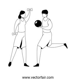 group of faceless couple practicing exercise