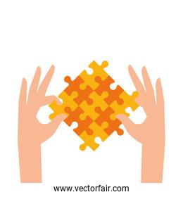 hands with set of puzzle pieces icons