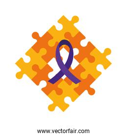 set of puzzle pieces with purple ribbon