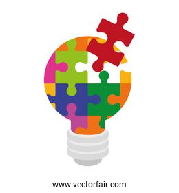light bulb of puzzle pieces isolated icon