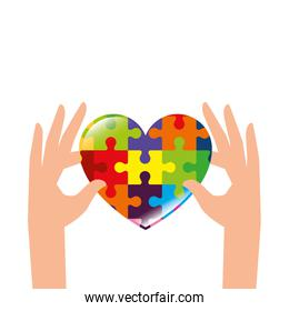hands with heart of puzzle pieces icon