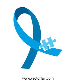 blue ribbon emblem with puzzle piece isolated icon
