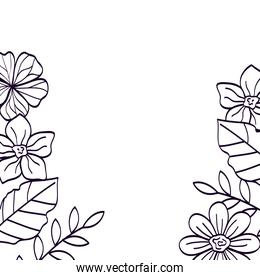 frame of flowers with leafs line style icon