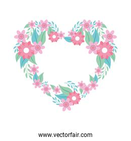 heart of flowers pink with branches and leafs