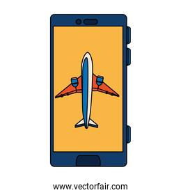 smartphone with airplane in screen