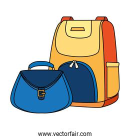 backpack with women bag isolated icon