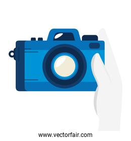 hand with camera photographic device isolated icon