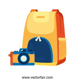 backpack with camera photographic isolated icon