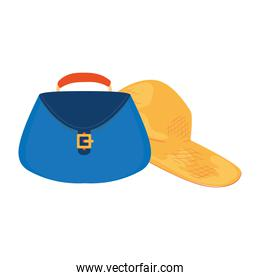 summer hat female with women bag isolated icon
