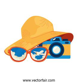 summer hat female with sunglasses and camera