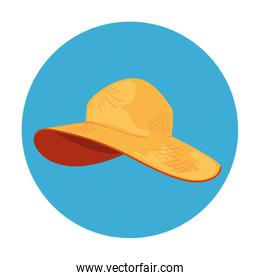 summer hat female in frame circular isolated icon
