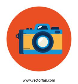 camera photographic in frame circular isolated icon