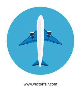 airplane flying in frame circular isolated icon