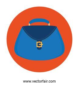 women bag purse in frame circular isolated icon