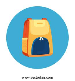 backpack in frame circular isolated icon