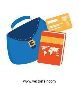 women bag with atlas book and credit card