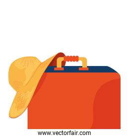 summer hat female with suitcase isolated icon