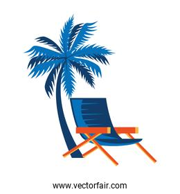 summer chair with tree palm isolated icon