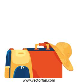 suitcases with summer hat female