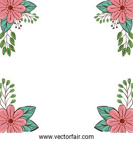 frame of flowers pink color with branches and leafs natural