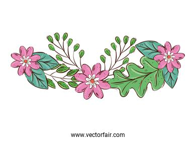 decoration of cute flowers pink color with branches and leafs