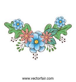 cute flowers with branches and leafs decoration