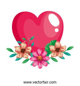 pretty heart pink with flowers and leafs decoration
