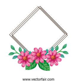 frame of flowers pink color with branches and leaves natural