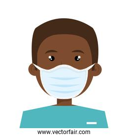 male afro paramedic using face mask isolated icon