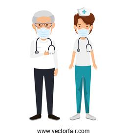 nurse with old doctor using face mask isolated icon